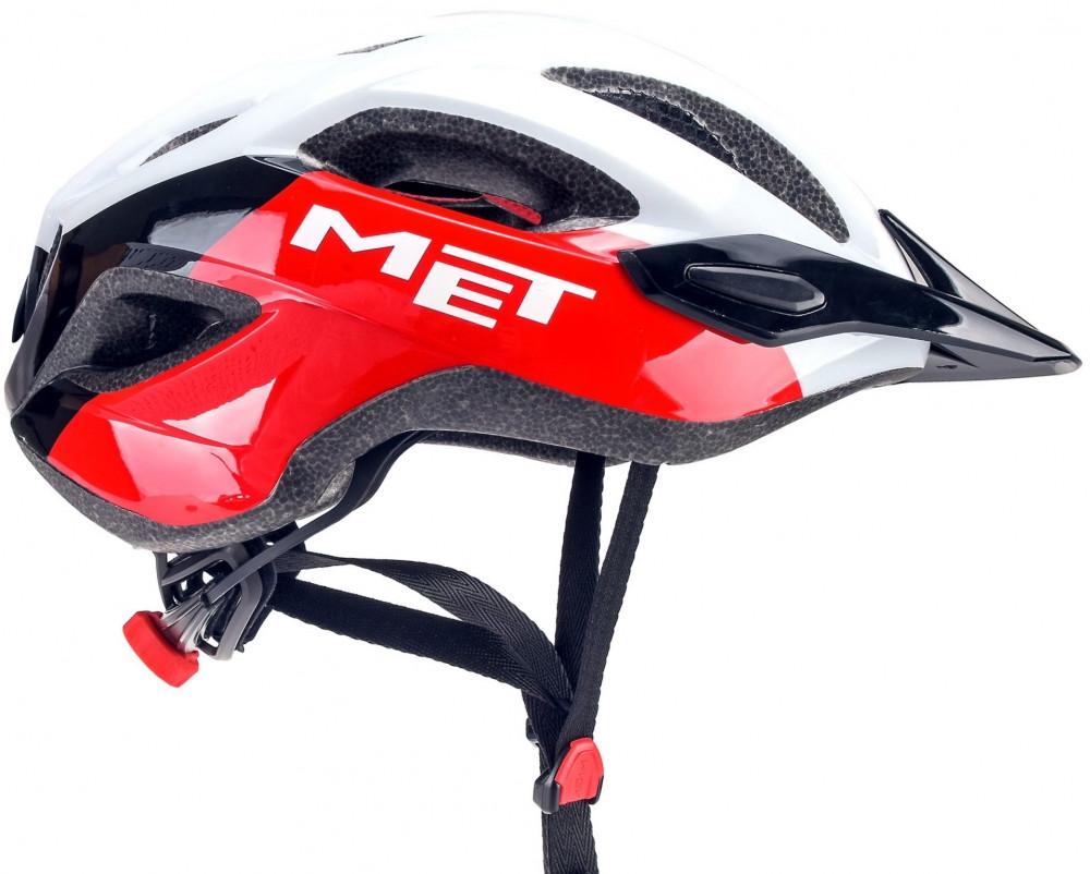 MET Crossover Vélo Casque sécurité intégrée DEL Taille XL 60-64 cm-Noir Rouge